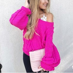 Tops - Hot Pink Chenille Sweater